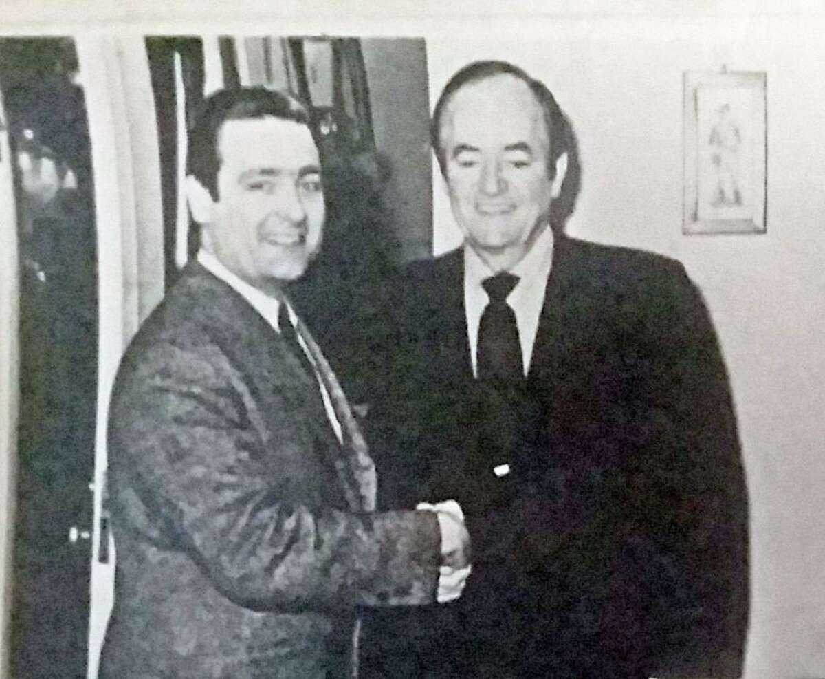 The late Dr. Howard Budd Bennett Sr. of Westbrook shakes hands with former Vice President Hubert Humphrey in 1971.