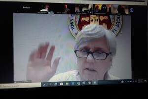 Mayor Candy Perez votes during the Winsted Board of Selectmen's meeting on Zoom Monday night.