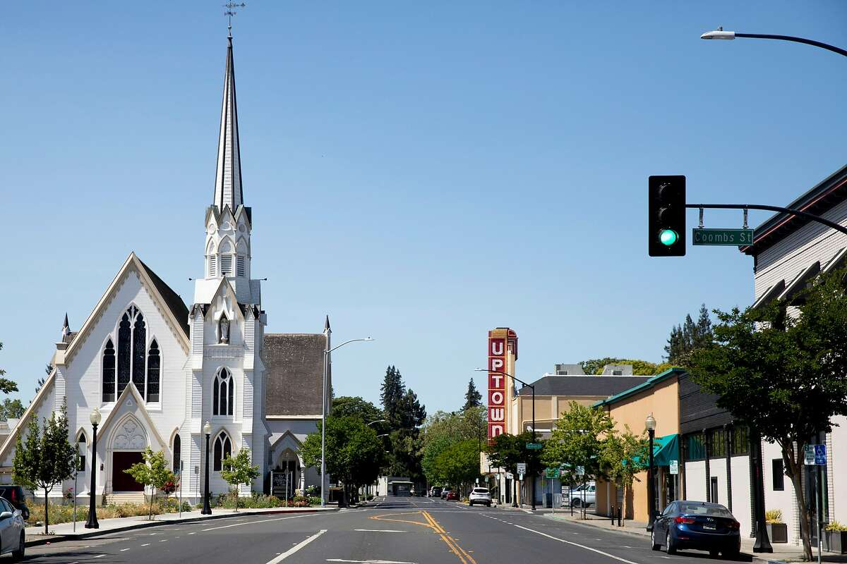 First Street is seen empty in Napa, Calif. Tuesday, May 5, 2020. A handful of businesses in Napa have made the decision to begin reopening their dining rooms at a limited scale ahead of shelter-in-place orders.