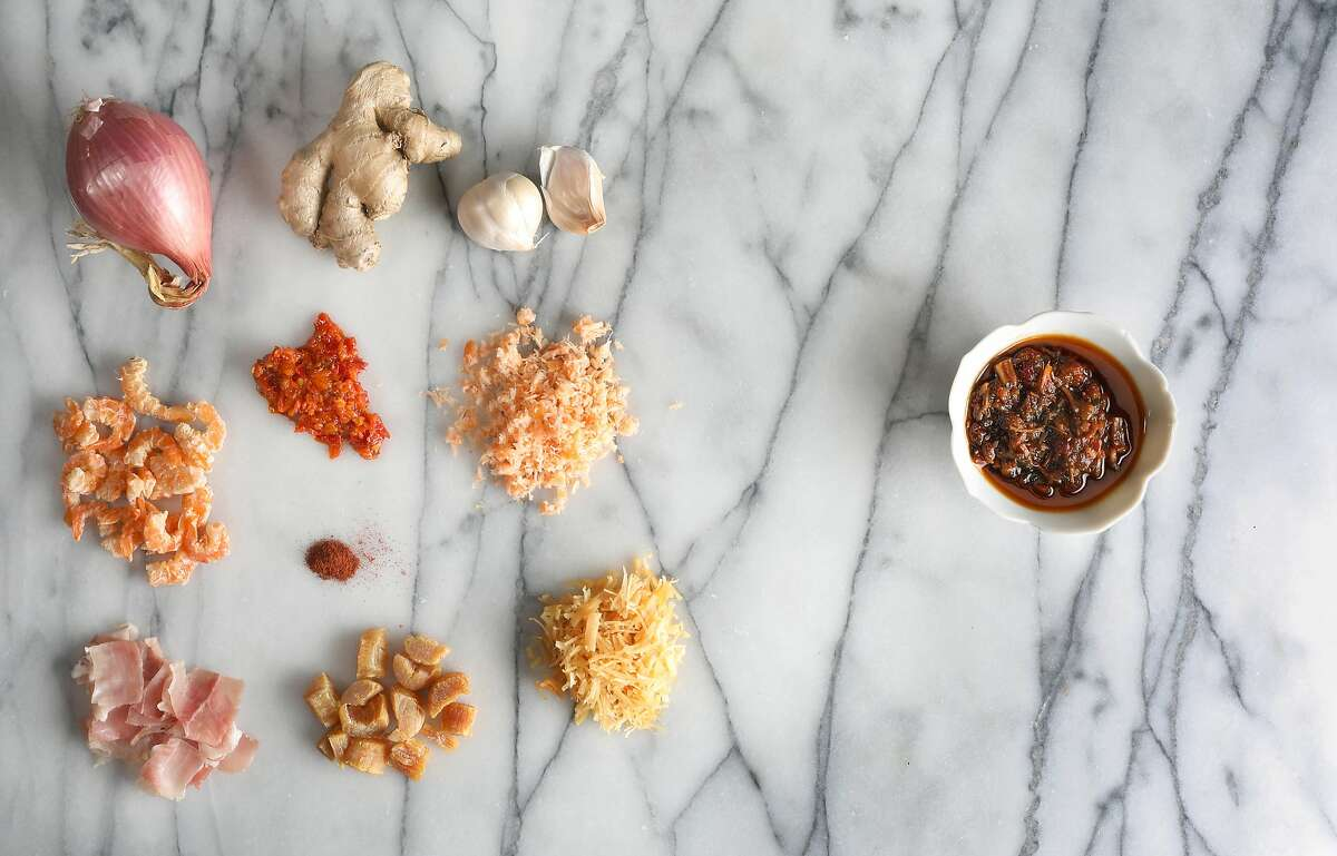 Ingredients for XO sauce seen on Friday, Feb. 21, 2020, in San Francisco, Calif.