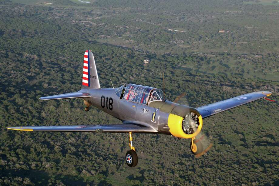 The Vultee BT-13 is nicknamed the Valiant, and also the Vultee Vibrator as it violently shakes when gaining speed. Photo: Lone Star Flight Museum