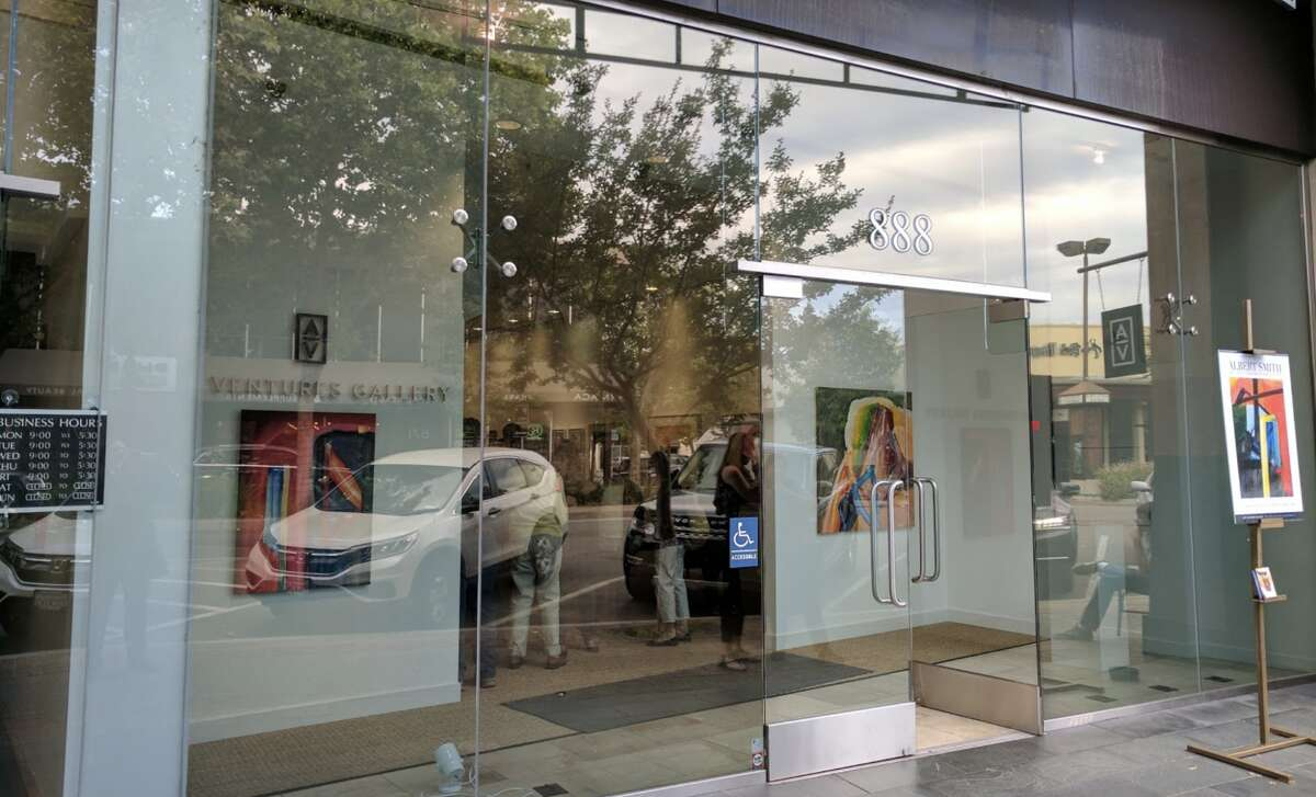 The exterior of Art Ventures Gallery in Menlo Park.Nine people visited the gallery when it re-opened on Saturday.