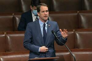 U.S. Rep. Jim Himes, D-4, speaks on the floor of the House of Representatives at the U.S. Capitol in Washington April 23, 2020.