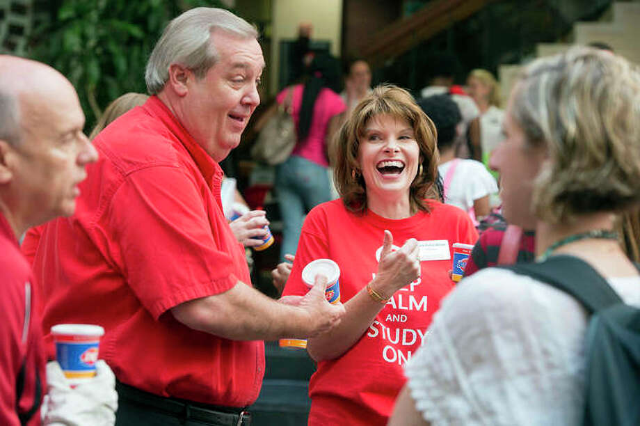 Former Edwardsville Mayor Gary Niebur enjoys time at the city's ice cream social in August 2012. Photo: Courtesy Of Southern Illinois University Edwardsville Marketing And Communications
