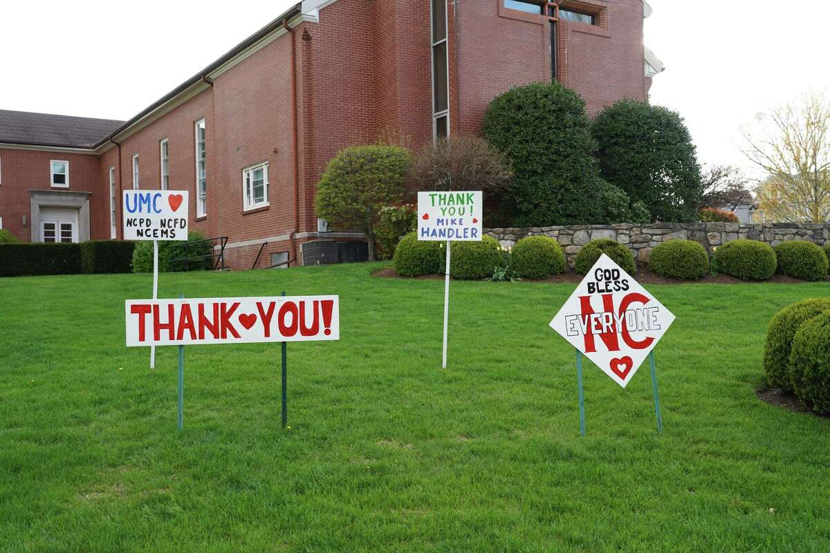 New Canaan is showing its gratefulness, and giving thanks to the first responders, and essential workers who are working during the coronavirus pandemic with signs at different locations throughout the town. The signs here are in front of The United Methodist Church of New Canaan.