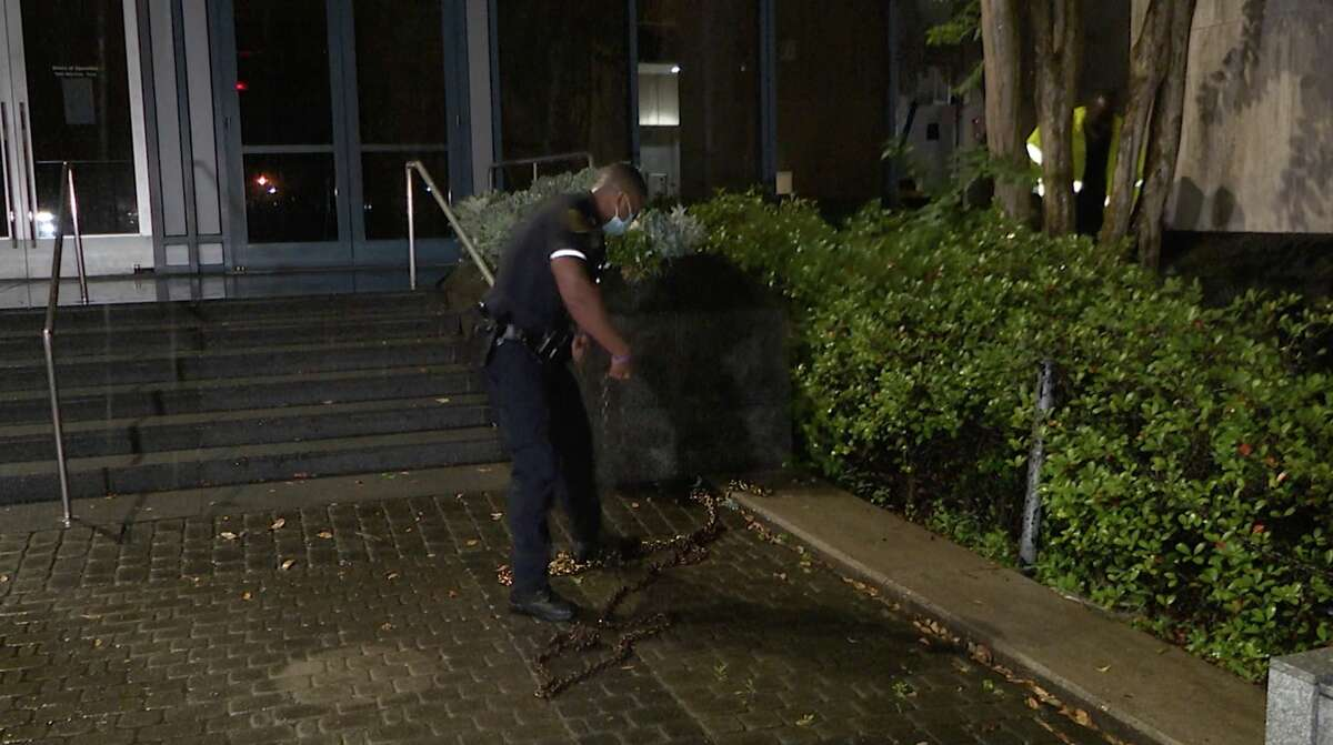 Houston police investigate a burglary at the Houston Museum of Natural Science on Wednesday, May 6, 2020.