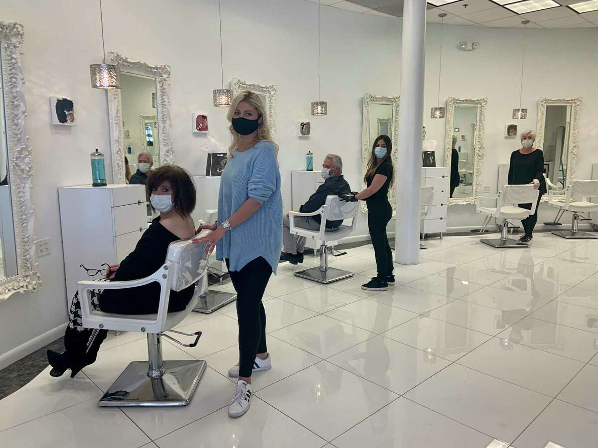 The styling floor at Andrew Stefanou Salon & Spa in Darien, showing how they'll be using their stations. Each stylist will be using every other station, skipping a station in between and allowing well over six feet of space between stations.