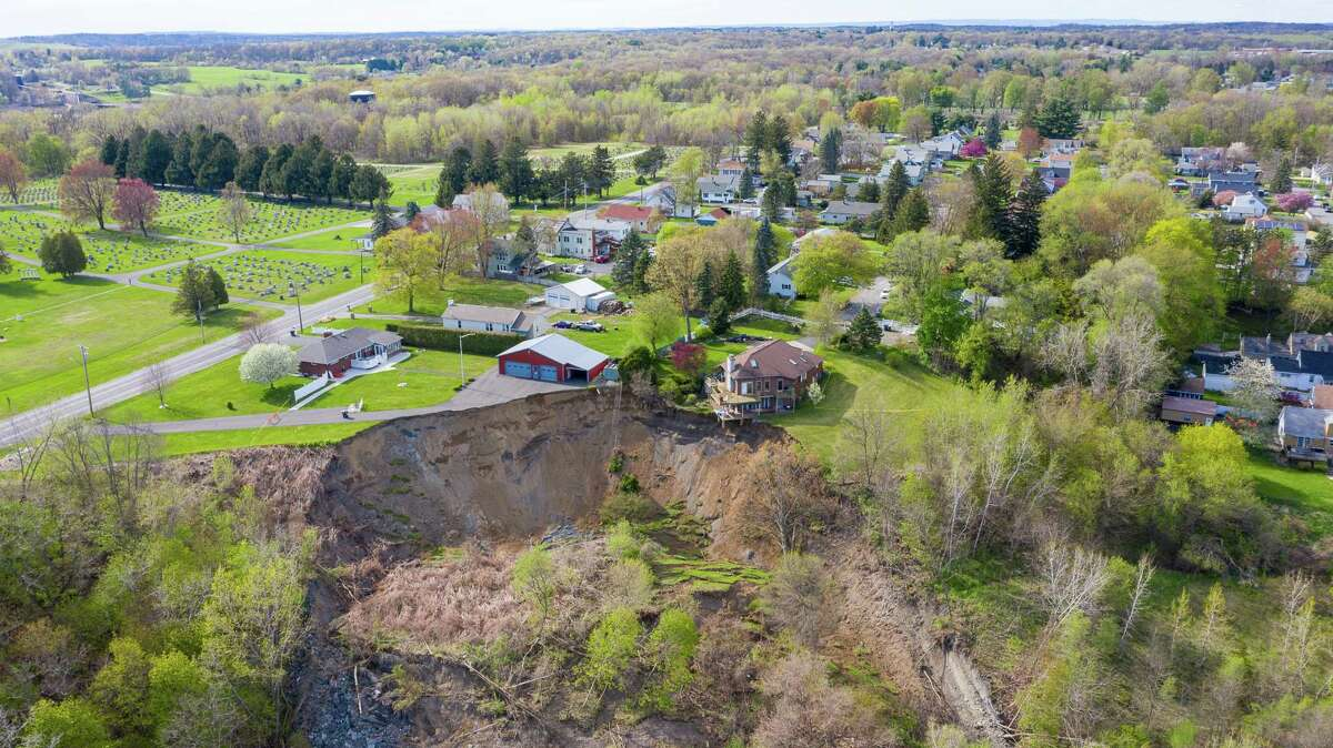 Aerial view of the Middletown Road landslide on Tuesday, May, 5, 2020, in Waterford, N.Y. This home is on the edge of a large, sloping hill that gave way on Sunday. (Jim Franco/Special to the Times Union) Read story