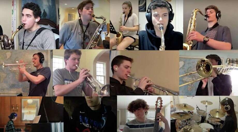 Darien High School's jazz ensemble recently arranged a virtual ensemble performance to surprise their teacher. Photo: Contributed