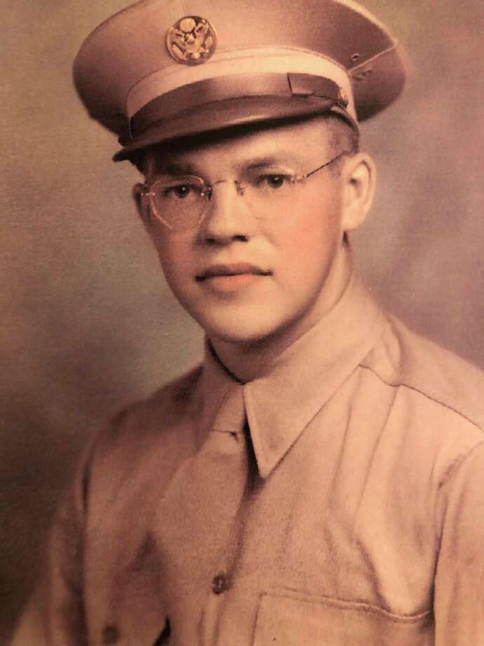 This is Gale Dickinson as he looked at 20. His mom and dad and his pastor saw him off on the Greyhound bus that took him to Fort Custer, Michigan. His pastor gave him a copy of the New Testament and Gale carried it with him all through World War II. (Photo provided)