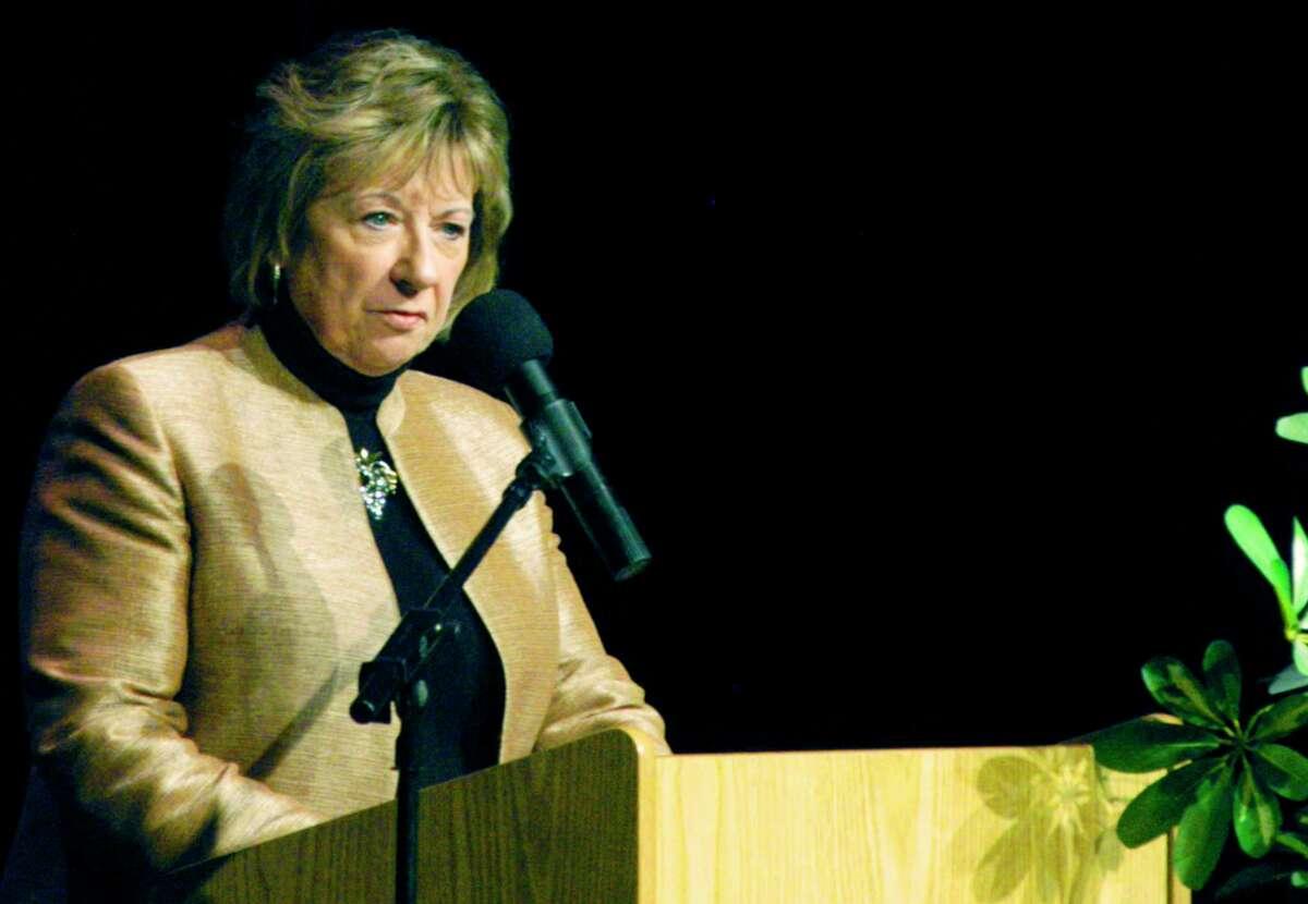 Superintendent of Schools JeanAnn Paddyfote speaks at New Milford High School on Oct. 20, 2014.