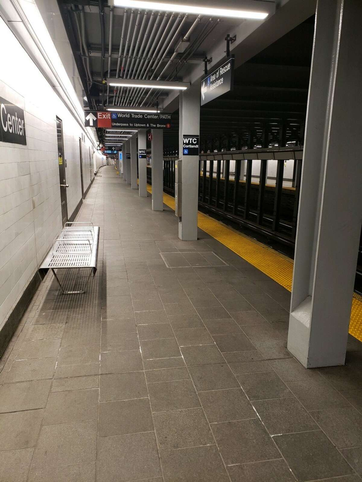 An empty subway platform in New York City in early April, when the coronavirus pandemic forced millions of residents in the city into lockdown. (Provided by Janice Ceccucci)