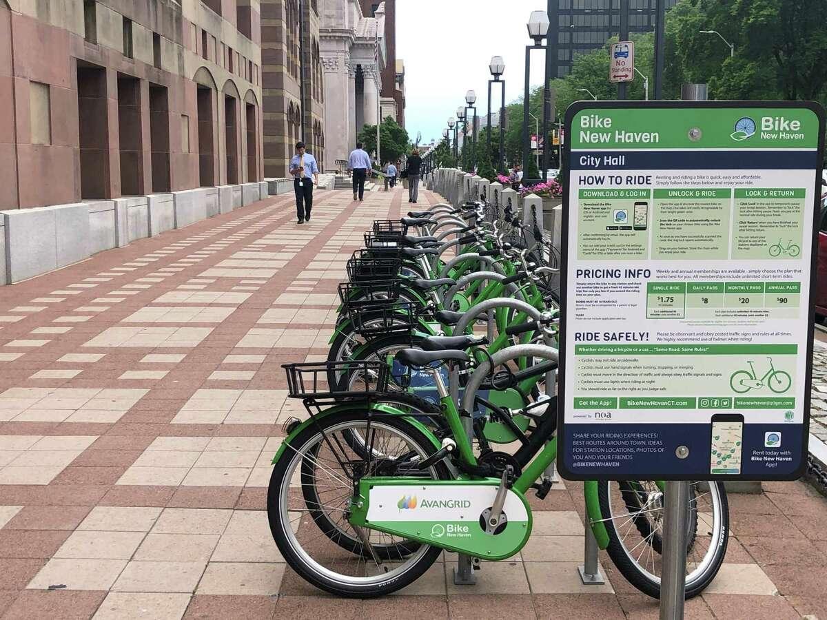 A bike station near New Haven City Hall.