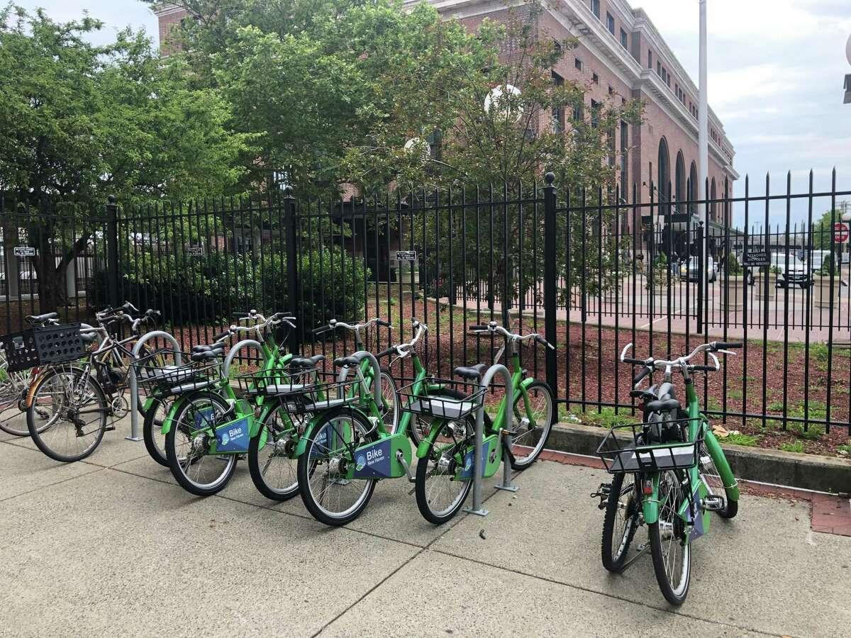 A bike station outside the Union Station parking garage.