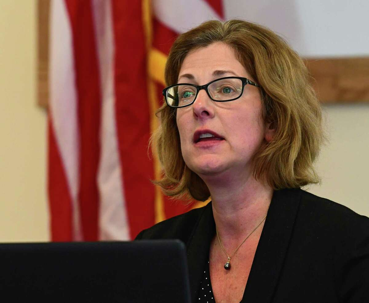 Saratoga Springs Commissioner of Finance Michele Madigan, seen here at the Saratoga Springs Recreation Center on Wednesday, May 6, 2020 in Saratoga Springs, N.Y., is laying off workers and raising property taxes.  (Lori Van Buren/Times Union)