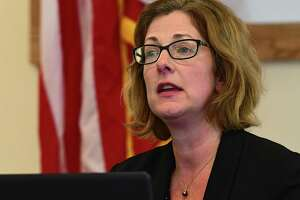 Saratoga Springs Commissioner of Finance Michele Madigan announces plans to bridge $16 million budget gap during a press conference held at the Saratoga Springs Recreation Center on Wednesday, May 6, 2020 in Saratoga Springs, N.Y. (Lori Van Buren/Times Union)