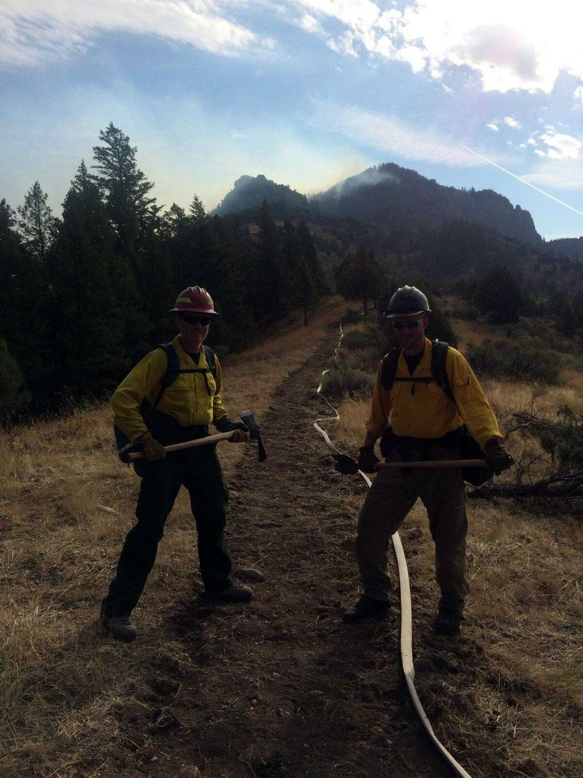 Wsetport Fire Chief Robert Yost, left, and Westport Fire Deputy Chief Mike Kronick, right, have used their experience combating wildfires to handle the coronavirus pandemic.