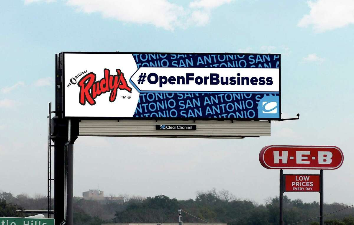 """San Antonio-based Clear Channel Outdoor Holdings Inc. has donated use of digital billboards to promote a message that area stores and restaurants are """"open for business"""" during the coronavirus crisis. Clear Channel has been cutting costs to brace for the pandemic's effects on its outdoor advertising."""
