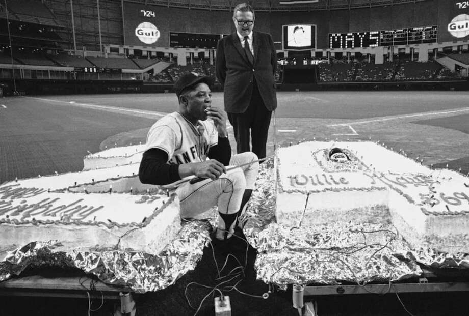PHOTOS: Classic photos of Willie Mays playing in Houston's Astrodome Willie Mays with his birthday cake on his 37th birthday given to him by Judge Roy Hofheinz just before the game with the Houston Astros at the Astrodome. The 569-pound cake, one pound for each of Mays' home runs.  May 6, 1968. Browse through the photos above for a look at Willie Mays playing in the Astrodome through the years ... Photo: Ed Kolenovksy/Associated Press
