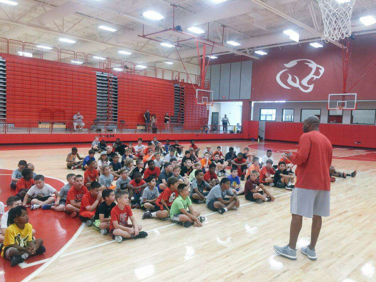 Crosby boys basketball coach Edwin Egans address the campers at the Crosby Boys Basketball Camp of Champions