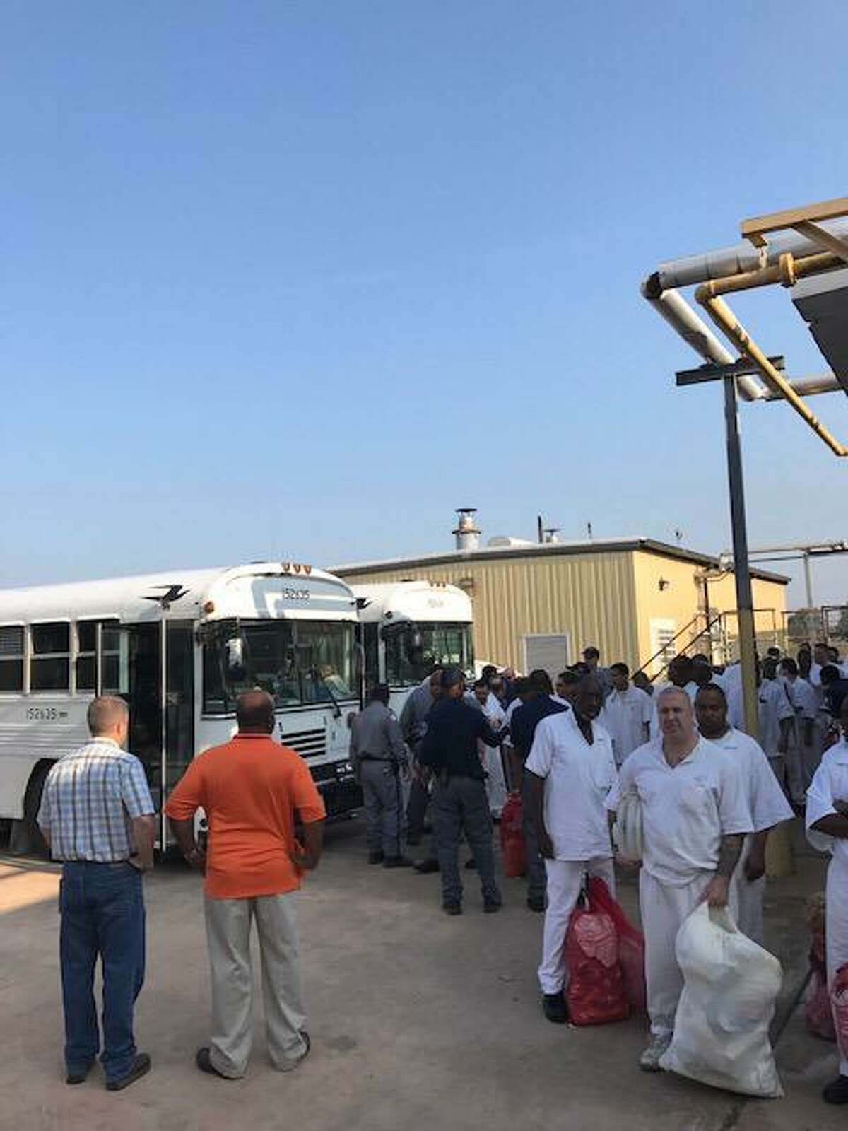 In this file photo, evacuated inmates return to the Beauford H. Jester Unit III in Richmond on Sept. 4, 2017, following Hurricane Harvey.