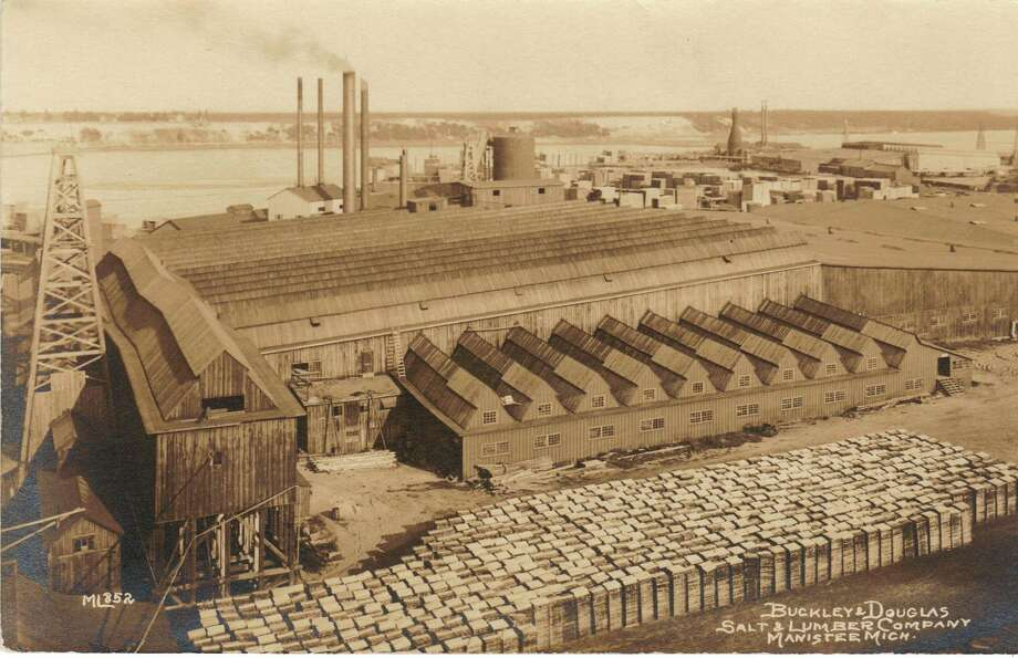 The Buckley and Douglas Salt and Lumber Company that was located on Manistee Lake is shown in this photograph from the late 1800s. It was one of the larger salt and lumber companies in Manistee.