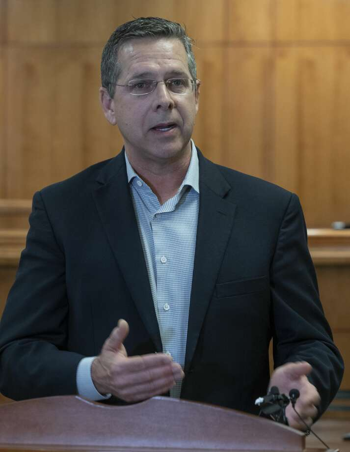 Dr. Larry Wilson, chief medical officer at Midland Memorial Hospital, gives an update and answers questions April 2 during the Unified Command Team press conference at the Midland County Annex building. Photo: Tim Fischer/Midland Reporter-Telegram