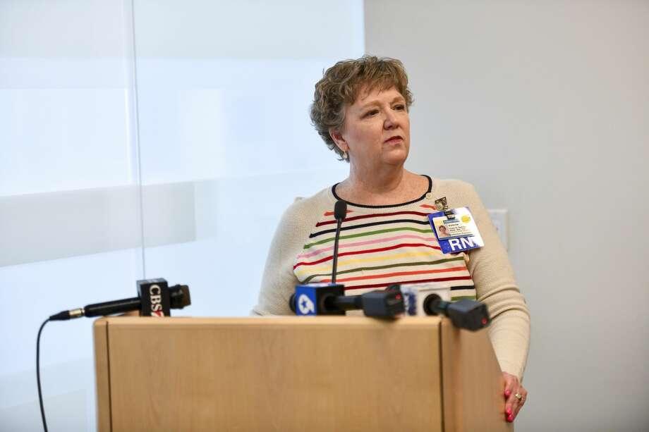 Midland Memorial Hospital infection preventionist Val Sparks discusses the coronavirus situation March 13 at the chapel at Midland Memorial Hospital. Photo: Jacy Lewis/Reporter-Telegram
