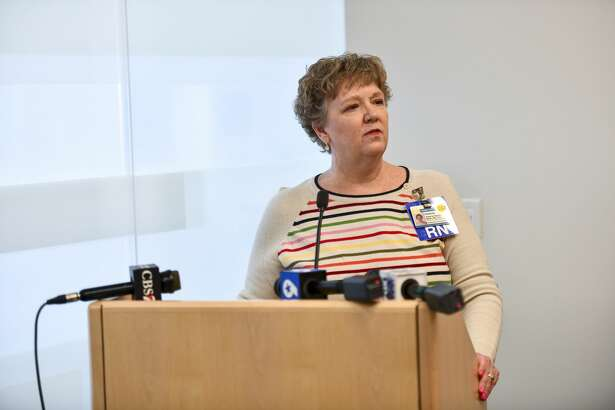 Midland Memorial Hospital infection preventionist Val Sparks discusses the coronavirus situation March 13 at the chapel at Midland Memorial Hospital.
