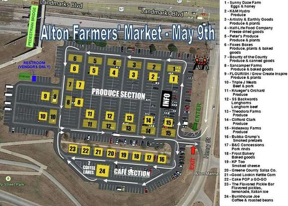 The Alton Farmers' & Artisans' Market returns 8 a.m. to noon Saturday, May 9, at 501 Landmarks Blvd., but only as a drive-through market because of coronavirus prevention concerns. A map of the market, and a list of the participating vendors, is available on the market's Facebook page.