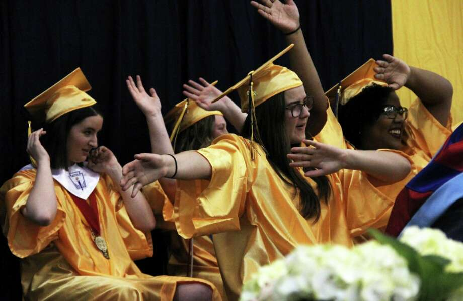 Members of North Huron's Class of 2019 attend their graduation ceremony in Kinde in this file photo. Area school districts are making plans to reschedule their commencement ceremonies due to uncertainty stemming from the coronavirus pandemic. (Tribune File Photo)