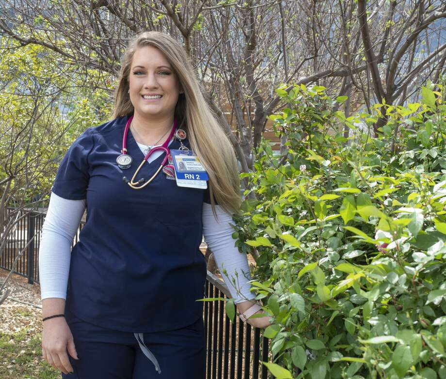 Registered nurse Jessica McBryde is attending to COVID-19 patients in the intensive care unit at Midland Memorial Hospital. Photo: Tim Fischer/Midland Reporter-Telegram