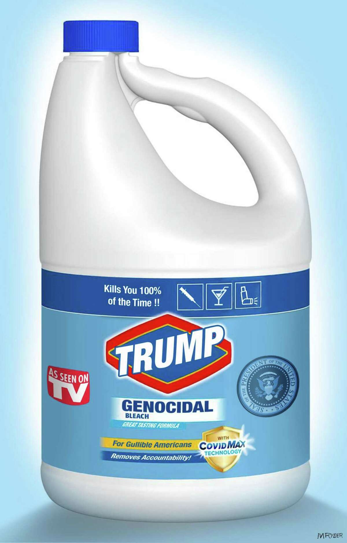 This artwork by M. Ryder refers to Donald Trump's claim that ingesting or injecting bleach could wipe out the coronavirus.
