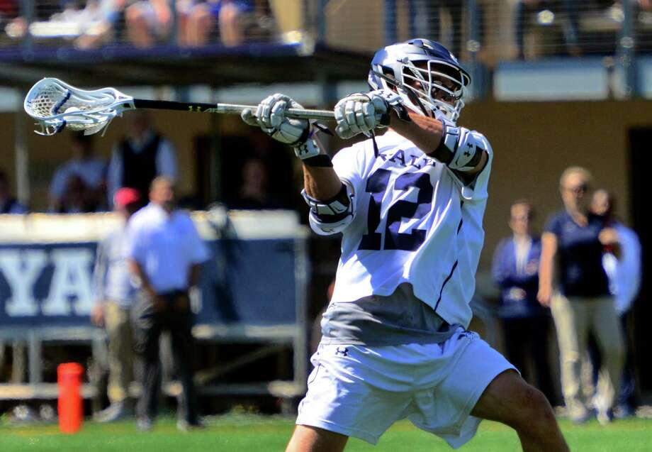 Yale's Brian Tevlin (12) shoots a goal against Georgetown during the First Round of NCAA Division I Men's Lacrosse Championship action in New Haven, Conn., on Saturday May 11, 2019. Photo: Christian Abraham / Hearst Connecticut Media / Connecticut Post