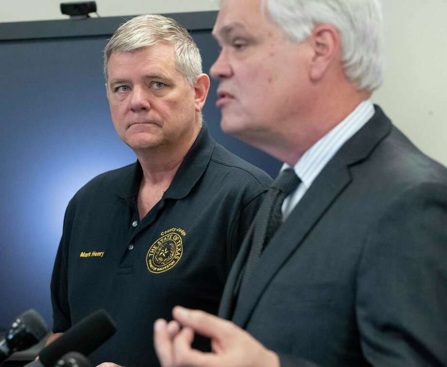 Galveston County Judge Mark Henry, left, wrote to Gov. Greg Abbott, requesting that 2020 property appraisals be frozen at 2019 levels because of the pandemic. Photo: STUART VILLANUEVA/The Daily News, Staff Photographer / STUART VILLANUEVA/The Daily News / © 2020 STUART VILLANUEVA/The Daily News
