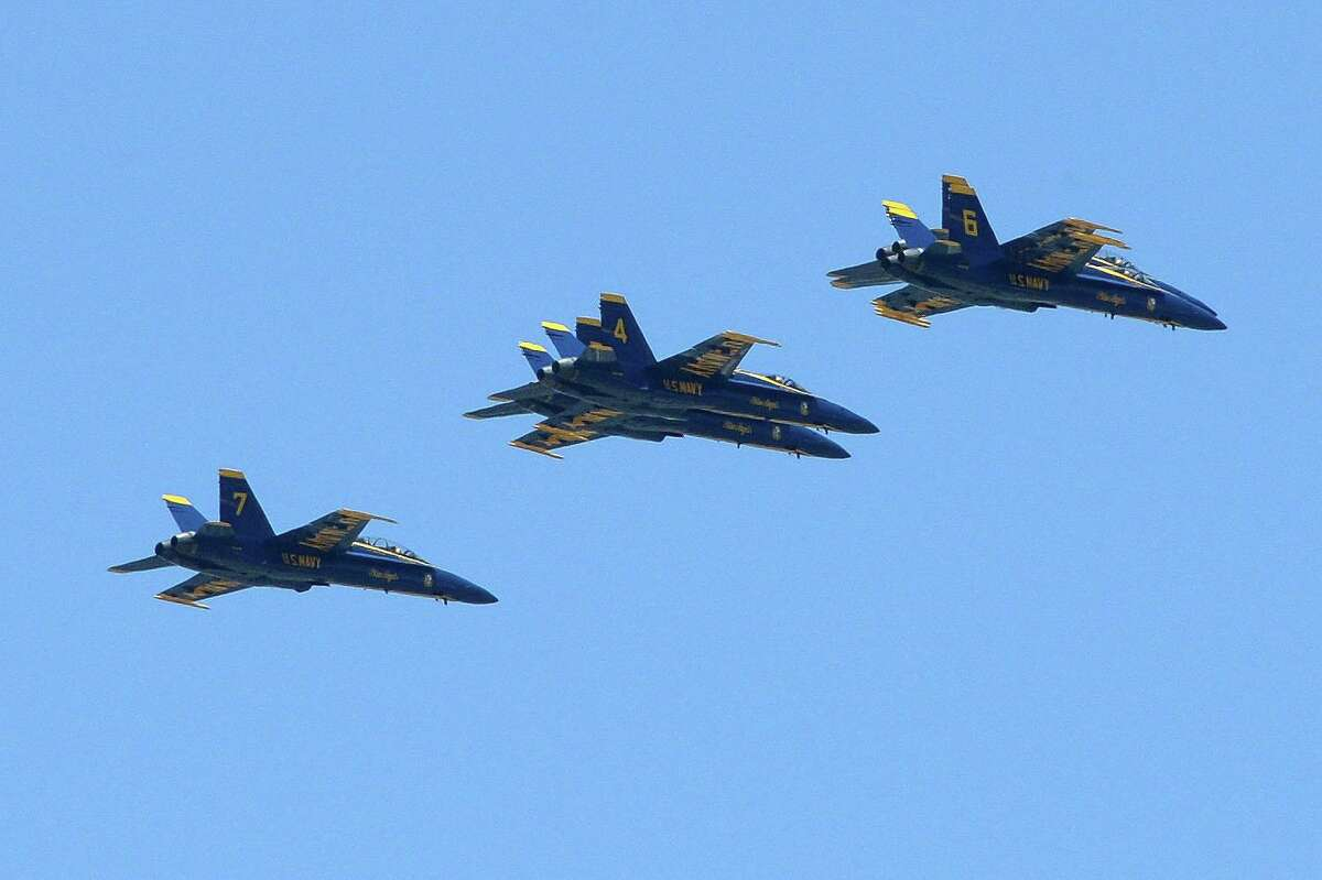 The U.S. Navy Blue Angels fly over La Centerra in Katy on Wednesday, May 6, 2020.