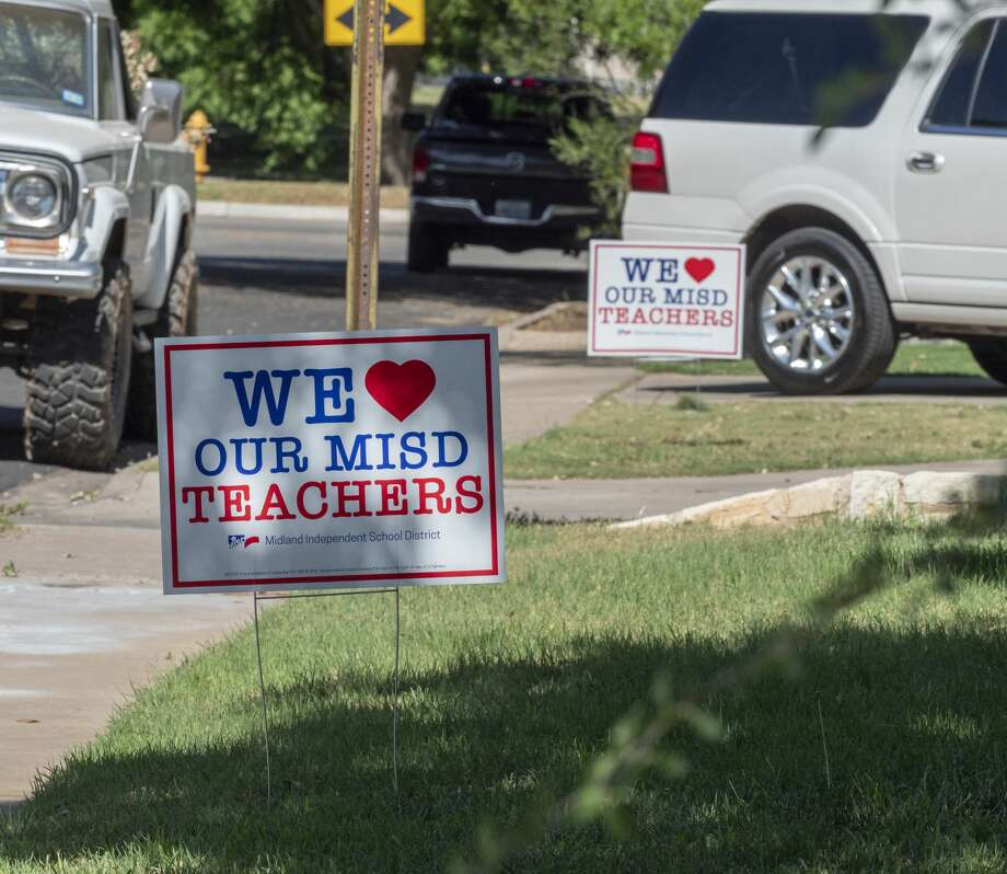 MISD is giving out teacher appreciation yard signs 05/06/2020 that are available at area school. Tim Fischer/Reporter-Telegram Photo: Tim Fischer/Midland Reporter-Telegram