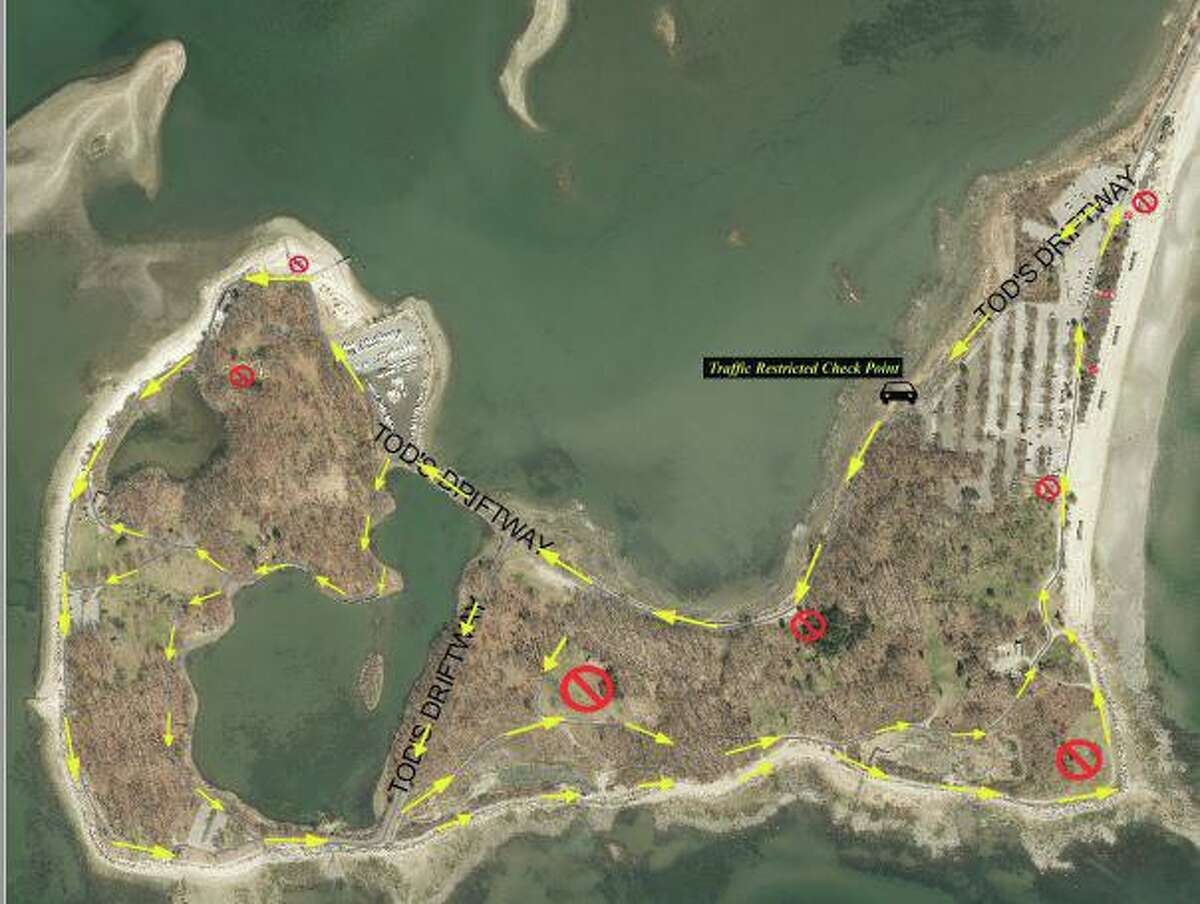 The town of Greenwich released this map with the details of the reopening of Greenwich Point Park on Thursday.