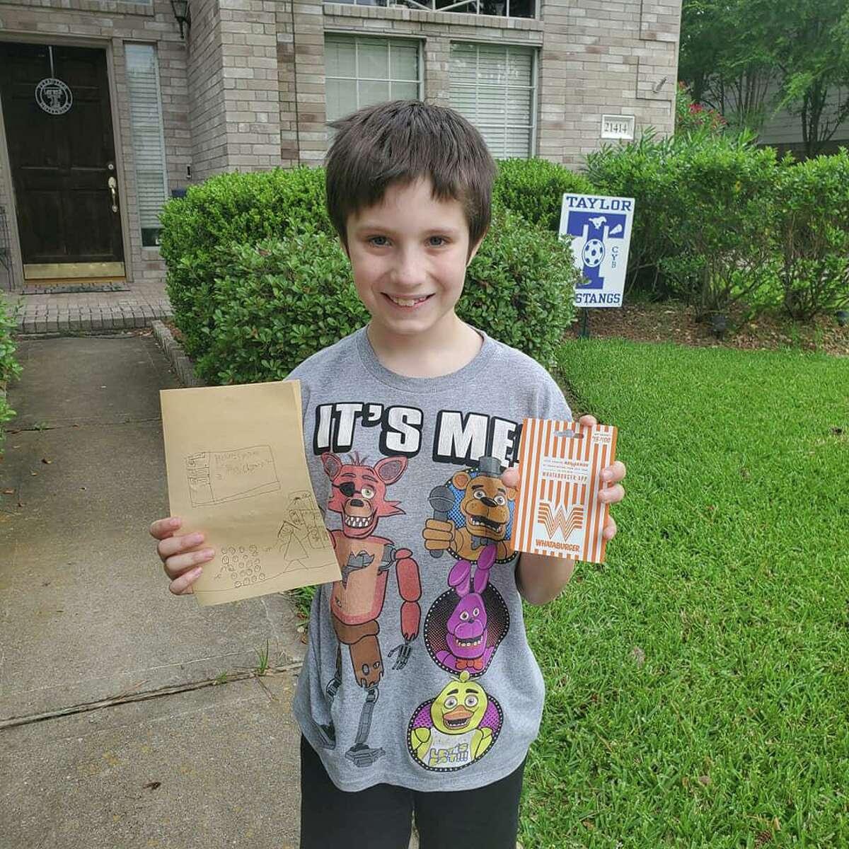 Tres Simpson brings his teacher a Whataburger gift card and a homemade card for Teacher Appreciation Week, which runs May 4-8.