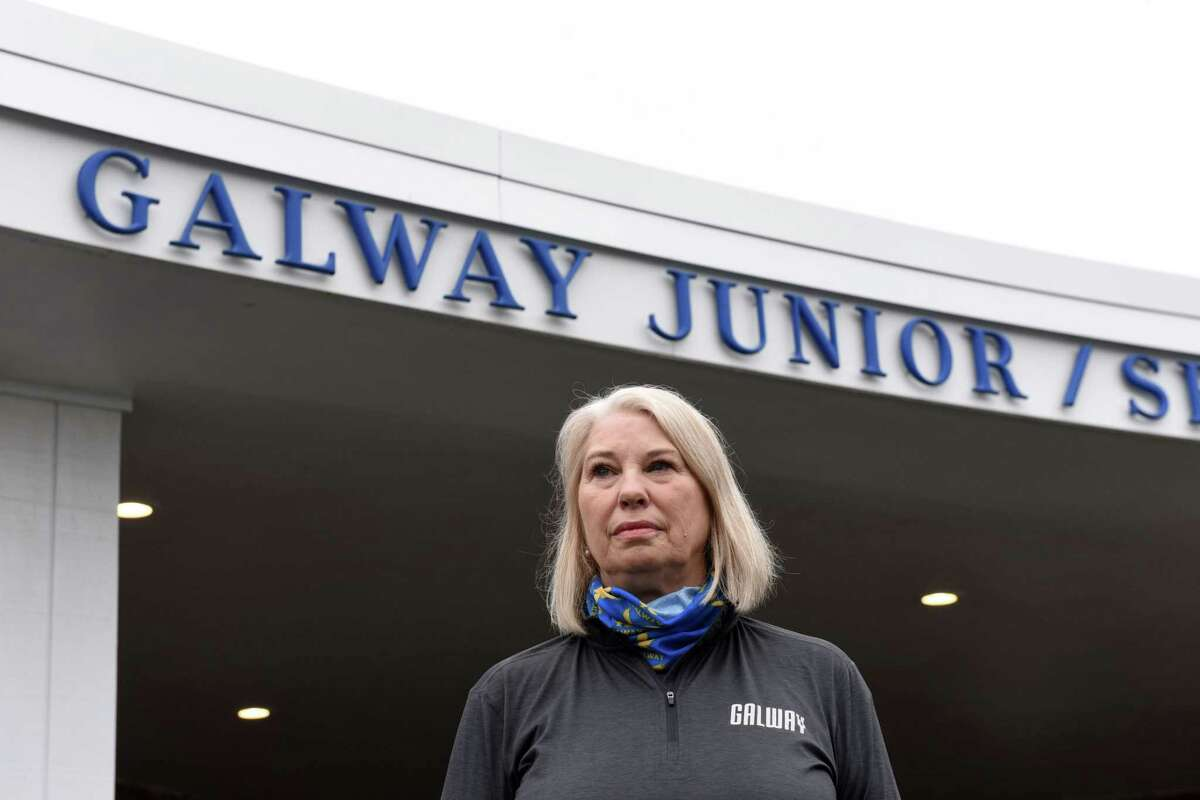The Galway Central School District already has gone remote amid a record number of coronavirus cases in the district. In this photograph, Superintendent Brita Donovan is pictured outside the Galway Junior/Senior High School on May, 1, 2020. (Will Waldron/Times Union)