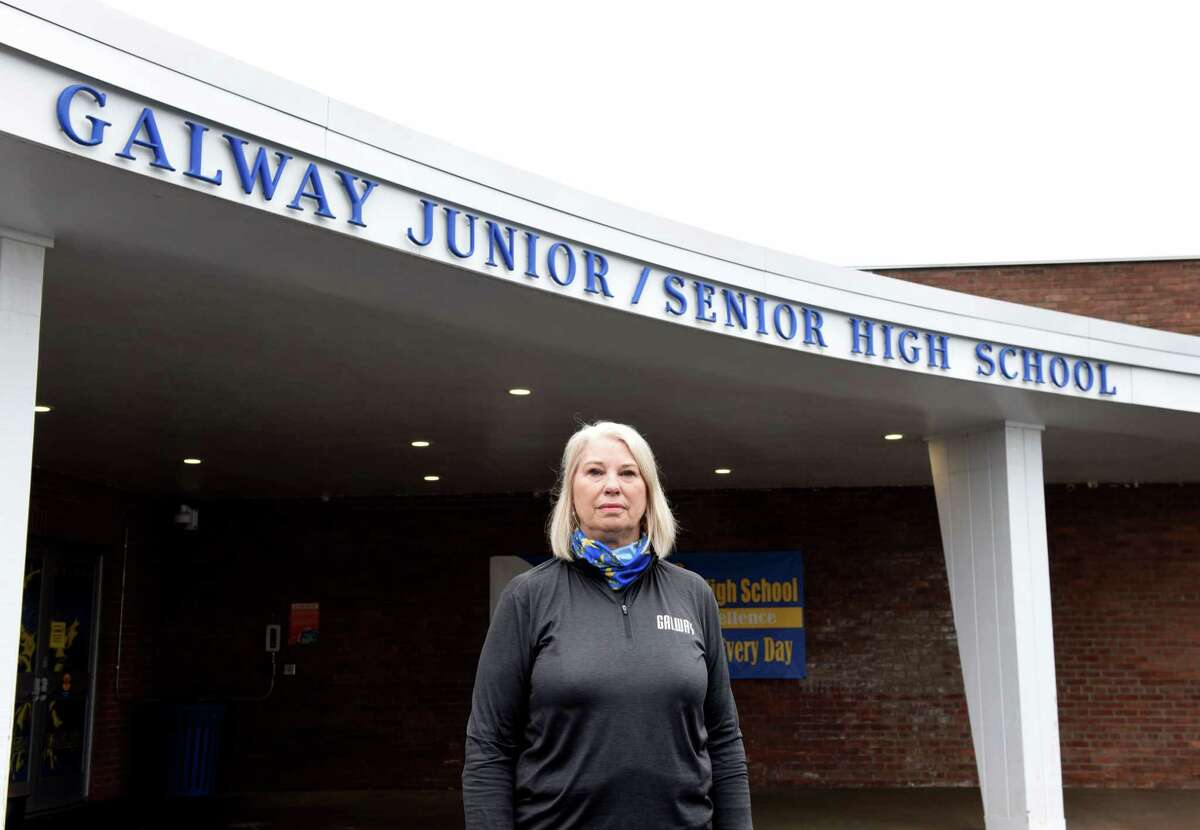 Galway Central School District Superintendent Brita Donovan is pictured outside the Galway Junior/Senior High School on Friday, May, 1, 2020, in Galway, N.Y. (Will Waldron/Times Union)