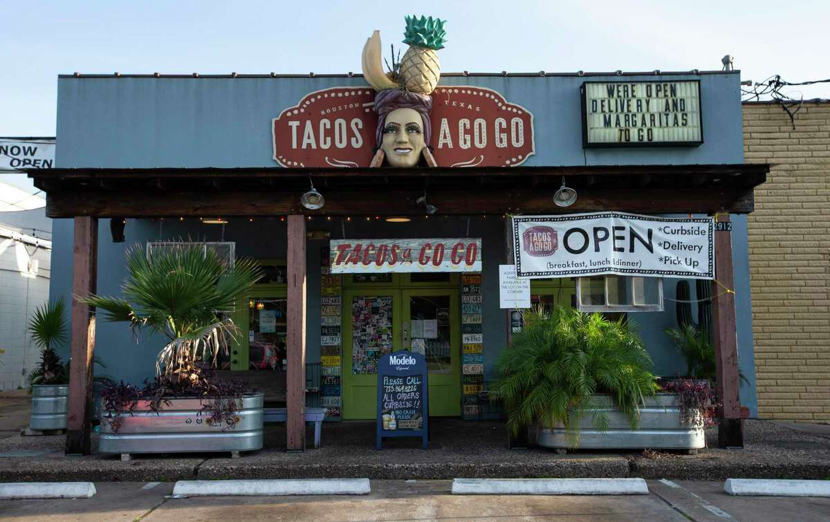 Tacos a Go Go is open for takeout orders of food and margaritas only Monday, April 27, 2020, at the Heights in Houston. Employees have had their hours reduced, and suppliers have had their orders cut since the coronavirus outbreak.