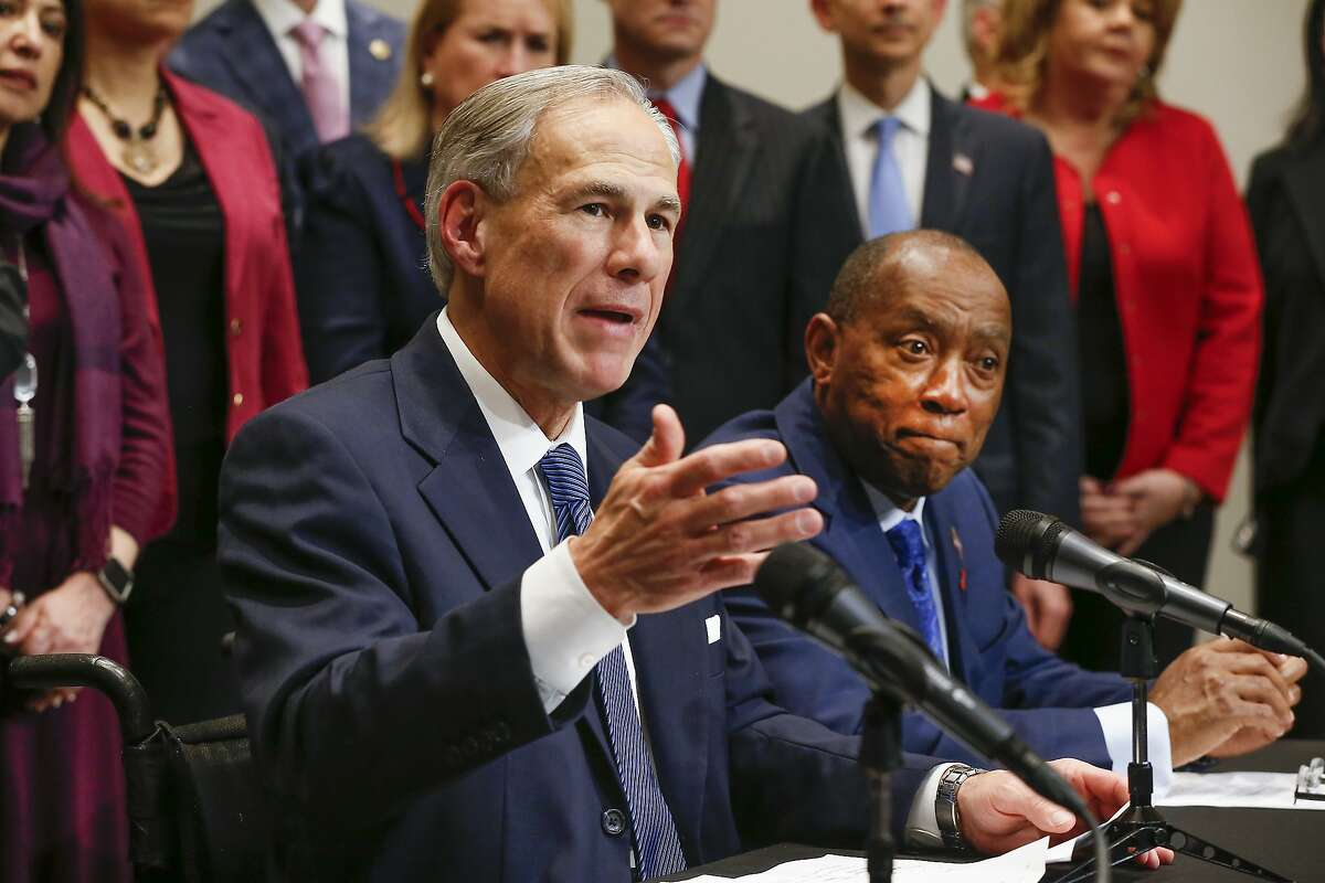 Gov. Greg Abbott and Mayor Sylvester Turner announced funding for flood relief and prevention Tuesday, Feb. 13, 2018, in Houston. ( Steve Gonzales / Houston Chronicle )
