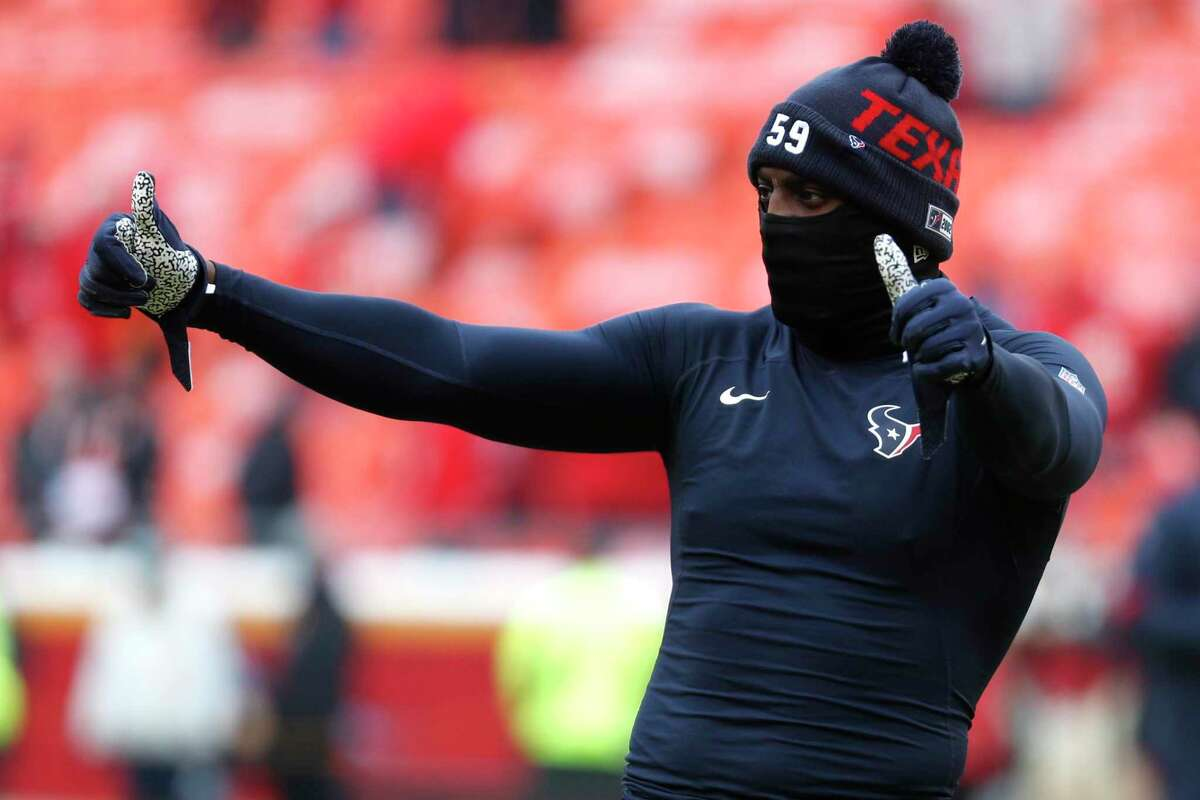 Whitney Mercilus, warming up before the Kansas City playoff game in January, is confident it won't take long to get in game-shape once NFL teams are allowed to practice.