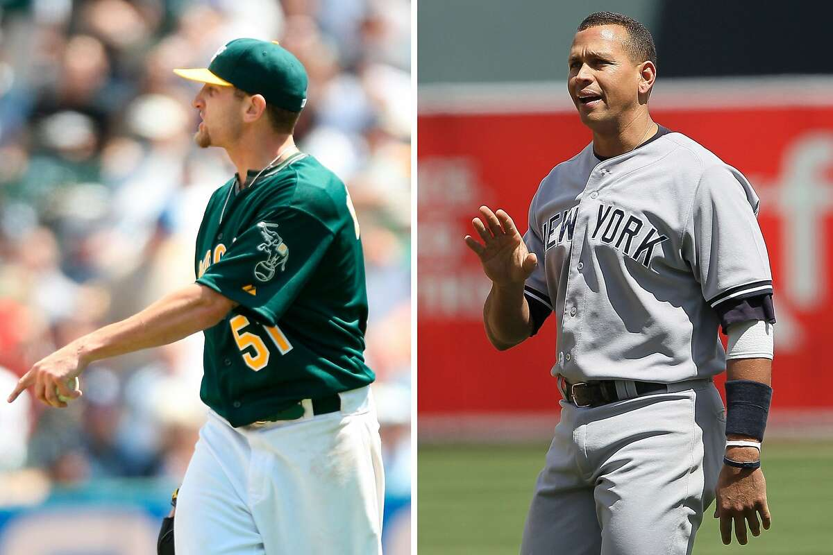 """A composite photo of Dallas Braden #51 (left) of the Oakland Athletics yelling """"keep of my mound"""" at Alex Rodriguez #13 (right) during the game against the New York Yankees at the Oakland Coliseum on April 22, 2010 in Oakland, California."""