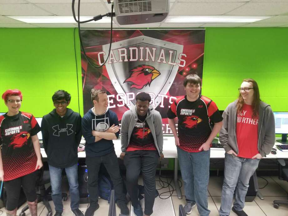 The Cardinals Esports Overatch team laughing in Lamar University's esports computer lab on Wednesday, March 4, 2020 in Beaumont, Texas. Photo: Courtesy Of Cardinals Esports