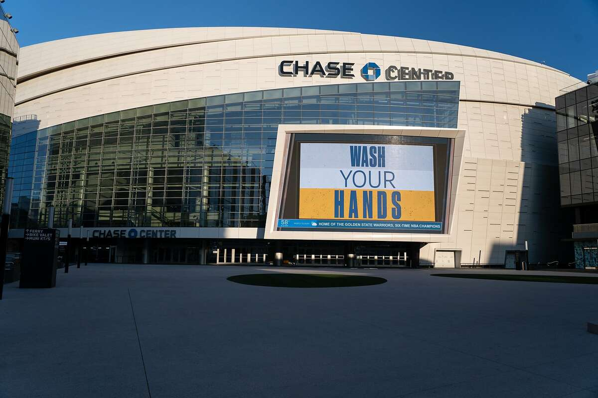 The closed Chase Center with a message to help fight the spread of the coronavirus on Thursday, March 19, 2020, in San Francisco, Calif.