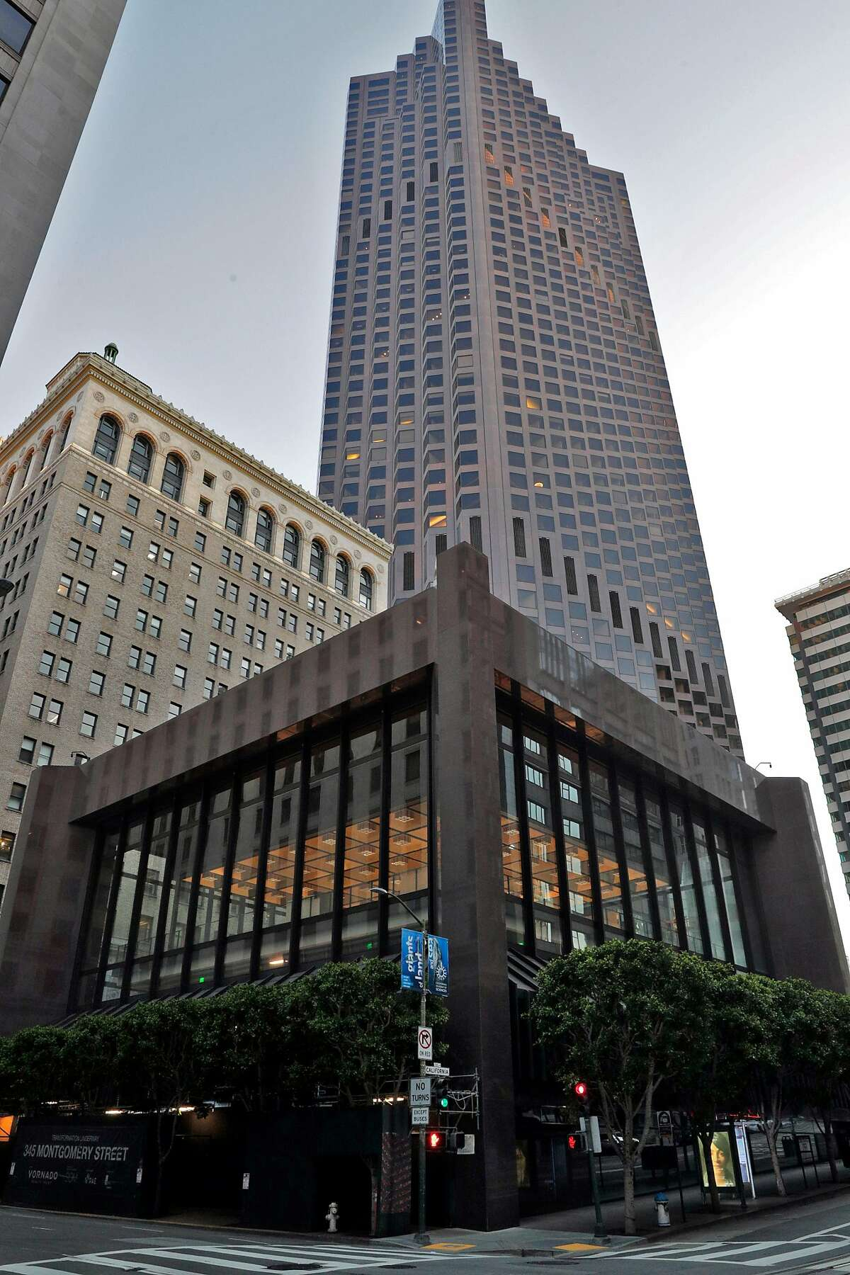The exterior of 345 Montgomery with 555 California Street visible in the background in San Francisco, Calif., on Wednesday, May 6, 2020. Co-working giant Regus has walked away from a 15-year lease worth $90 million at 345 Montgomery St., the former bank of America banking hall co-owned by Vornado and the Trump Organization which also owns 555 California Street.