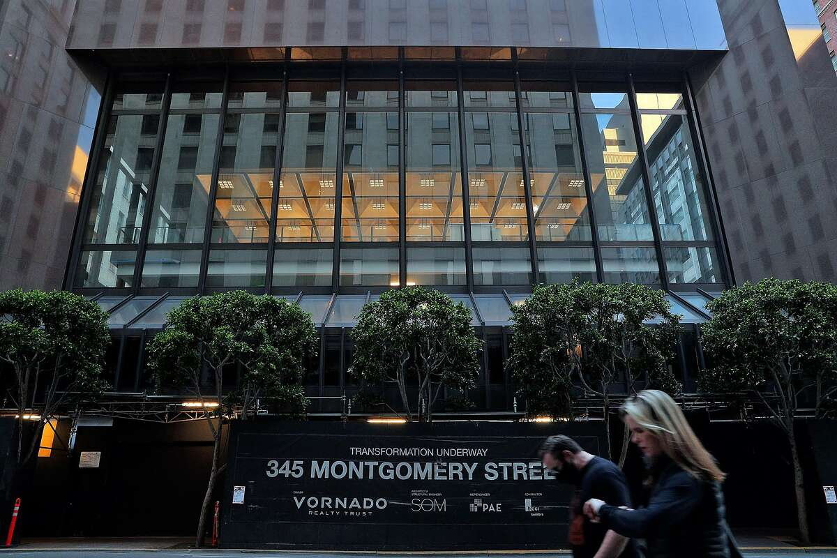 The exterior of 345 Montgomery Street in San Francisco, Calif., on Wednesday, May 6, 2020. Co-working giant Regus has walked away from a 15-year lease worth $90 million at 345 Montgomery St., the former bank of America banking hall co-owned by Vornado and the Trump Organization.