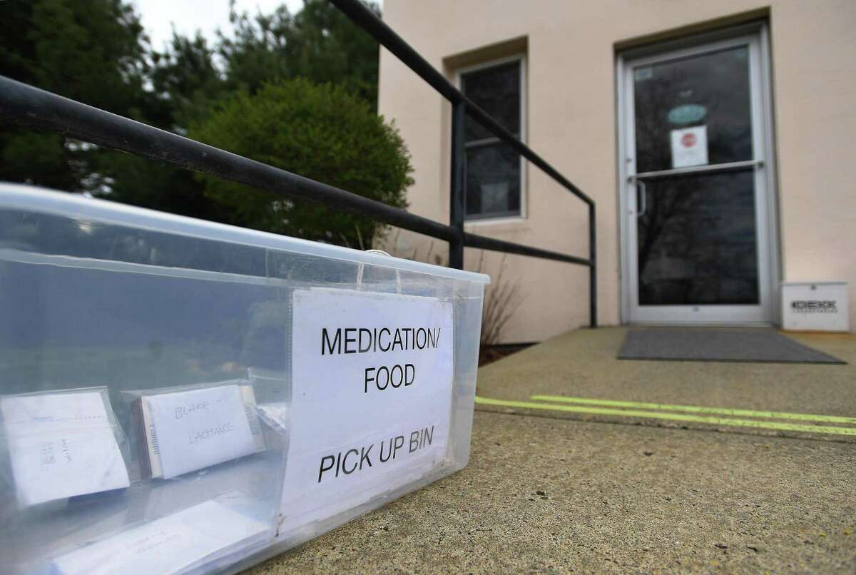 The customer pick up bin outside Saybrook Veterinary Hospital in Old Saybrook, Conn. on Wednesday, May 6, 2020.